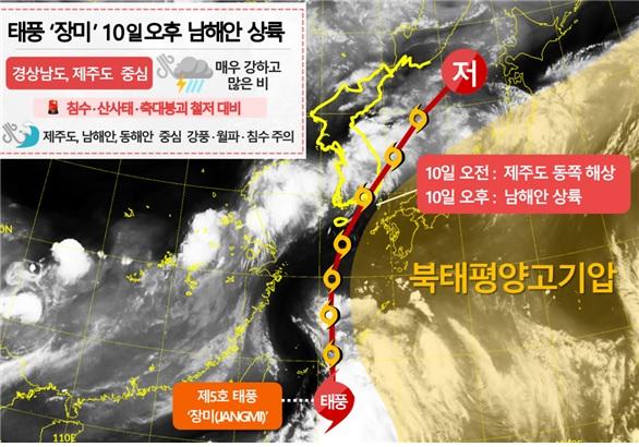 9~11일 태풍 예상경로와 우리나라 주변 예상 기압계 (제공=기상청)