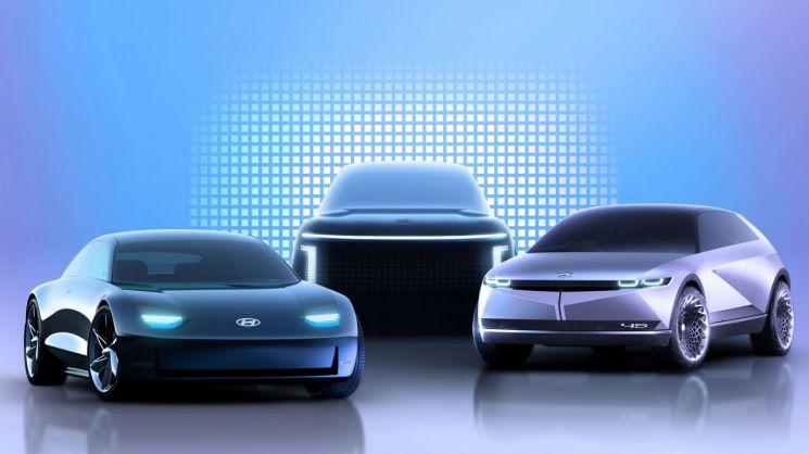현대차 전기차 전용 플랫폼 탑재한 아이오닉 브랜드 라인업 렌더링 이미지(좌측부터 아이오닉 6, 아이오닉 7, 아이오닉 5)/사진=현대차그룹