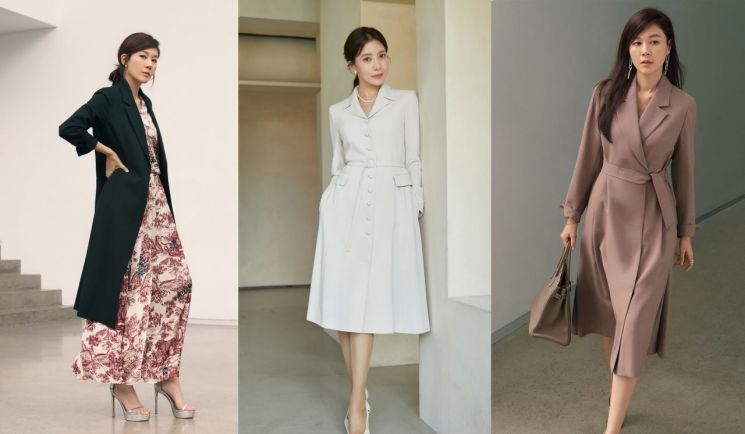 CJ ENM 오쇼핑부문이 예년보다 2주 앞당겨 가을 패션 상품을 선보인다. 왼쪽부터 '셀렙샵 에디션' 20FW 벨티드 드레스와 '에셀리아' 20FW 원피스 사진