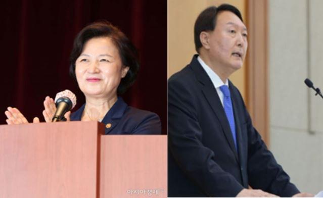 추미애 법무부 장관(좌)과 윤석열 검찰총장