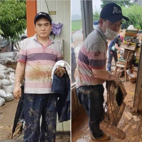 태영호 미래통합당 의원이 지난 6일 충북 수해 현장을 찾아 복구 작업에 나서고 있다. 사진=조수진 통합당 의원 페이스북 캡처