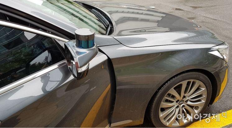 오토노머스에이투지의 자율주행차량에 장착된 외부 인식 센서 '라이다'. 사진=문혜원 기자