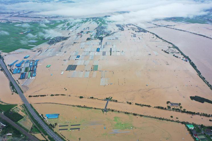 곡성읍 대평리 침수 당시 모습     사진자료=곡성군 제공