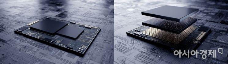삼성전자가 업계 최초로 7나노 극자외선(EUV) 시스템반도체에 3차원 적층 패키지 기술인 '엑스-큐브(X-Cube)'를 적용한 테스트칩 생산에 성공했다고 13일 밝혔다. 왼쪽이 기존 시스템반도체의 평면 설계이며 오른쪽이 삼성전자의 3차원 적층 기술 'X-Cube'를 적용한 시스템반도체 설계다.