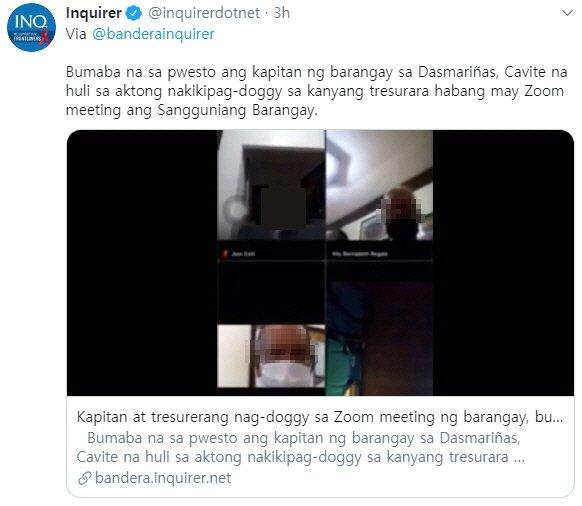 28일 인콰이어러 등 현지 언론에 따르면 필리핀 북부 카비테주의 한 바랑가이 대표 에스틸은 최근 화상회의 프로그램 '줌(Zoom)'을 이용해 신종 코로나바이러스 감염증 방역 회의를 주재한 뒤 카메라가 꺼진 줄 모르고 여직원과 성관계를 했다. 사진=필리핀 언론 인콰이어러 트위터 캡처.