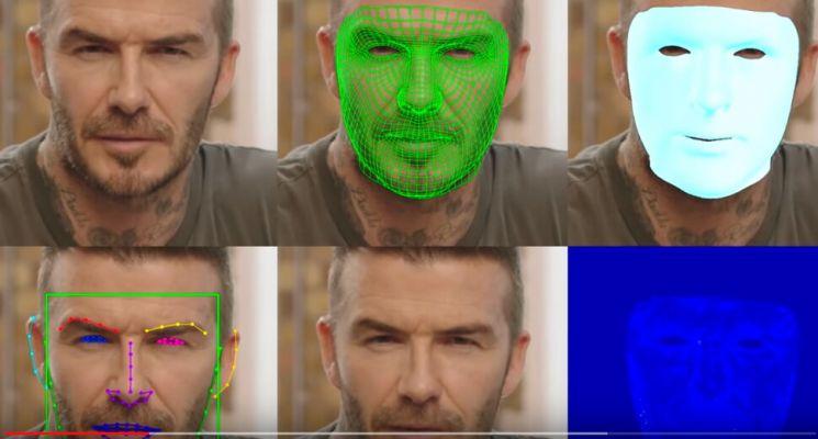 영국 축구선수 데이비드 베컴의 얼굴을 딥페이크 기술로 일부 조작, 9개 국어 더빙 영상을 만드는 장면. / 사진='말라리아 머스트 다이' 유튜브 캡처