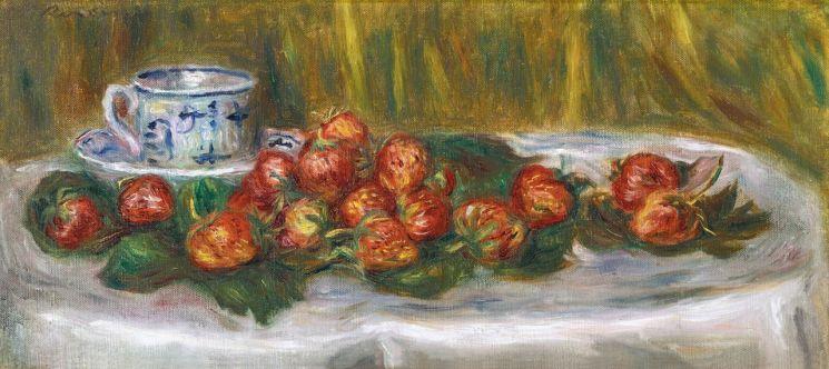 피에르 오귀스트 르누아르 '딸기가 있는 정물(Nature Morte aux Fraises)', oil on canvas, 23.5×50.2㎝, circa 1905 추정가 6억9000만~8억원   [사진= 케이옥션 제공]