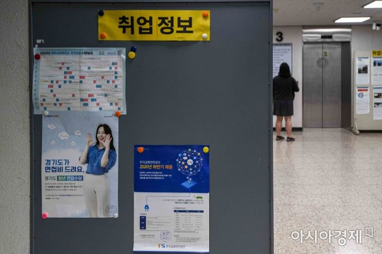 신종 코로나바이러스감염증 사태 장기화에 따른 구직난이 이어지고 있는 가운데 서울 한 대학 취업게시판에 취업정보가 게시되고 있다./강진형 기자aymsdream@