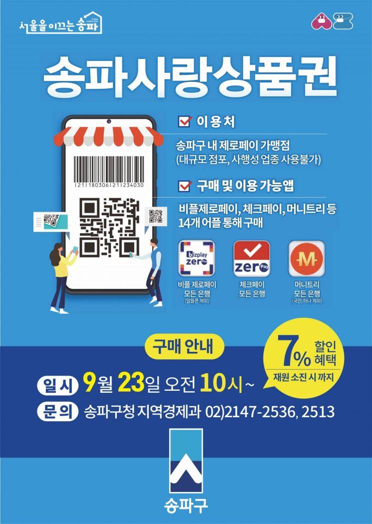 송파사랑상품권 4차 80억원 규모 발행