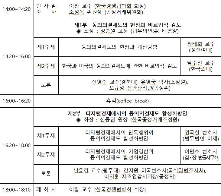 18일 개최되는 공정거래위원회-한국경쟁법학회 동의의결 분야 학술심포지엄 일정.(자료=공정거래위원회)
