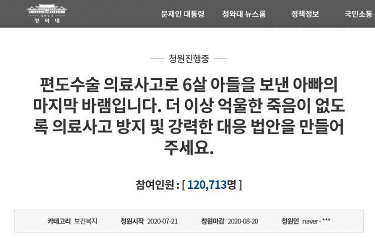 양산부산대학교병원에서 지난해 편도 제거 수술 후 치료받다가 숨진 6살 아동의 유족이 지난달 청와대 국민청원 게시판에 올린 청원글.