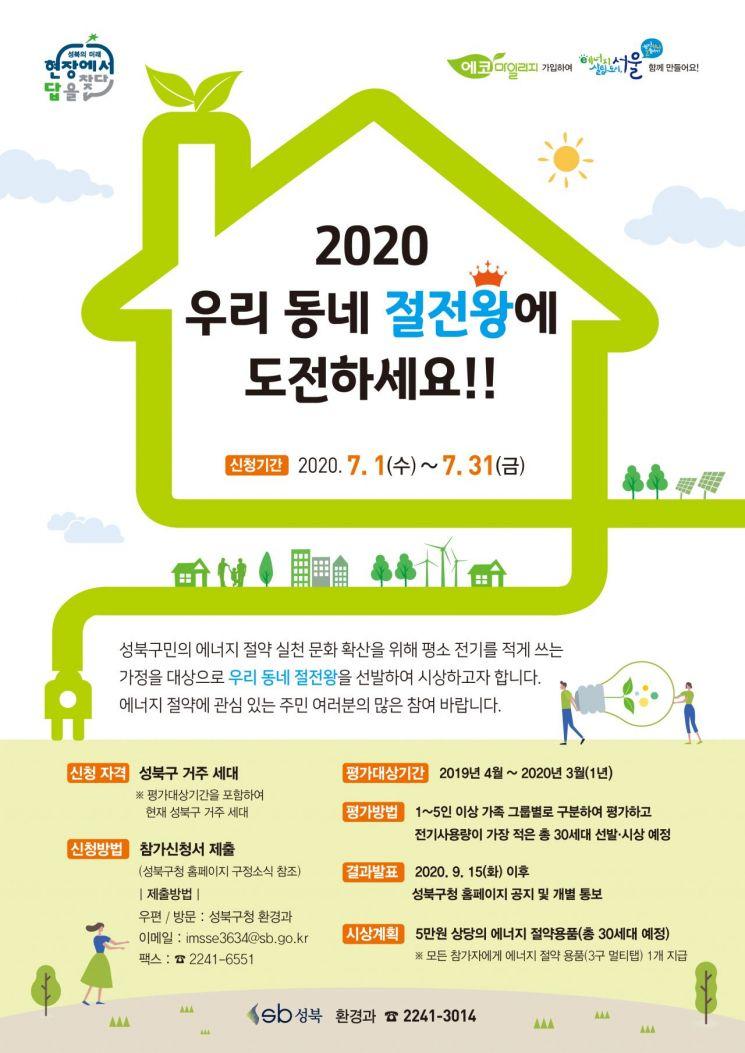 성북구 '2020년 우리 동네 절전왕' 50명 선발