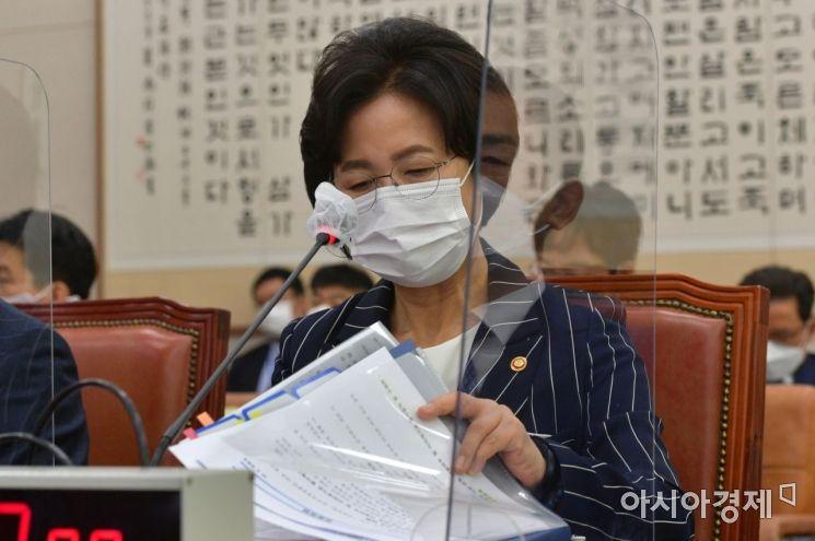 추미애 법무부 장관이 21일 국회 법사위 전체회의에 출석, 자료를 정리하고 있다./윤동주 기자 doso7@
