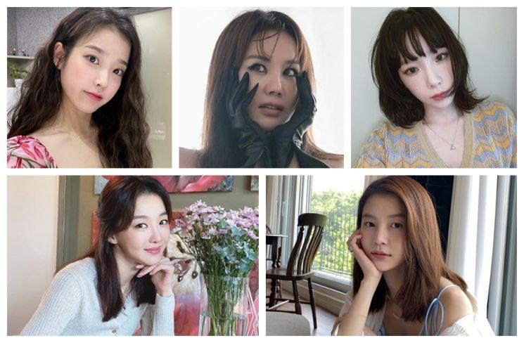 아이유, 엄정화, 태연, 장희진, 임현주. 사진=각 인스타그램.