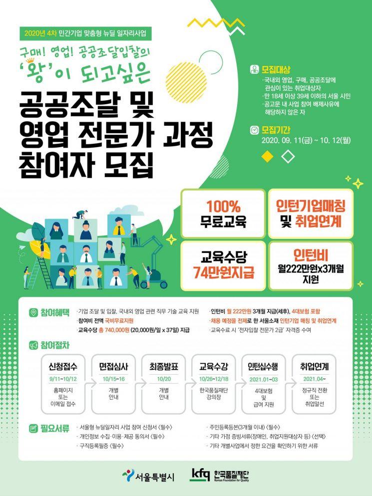 한국품질재단, 「제조서비스 분야 공공조달 및 영업 전문가 과정」 훈련생 모집