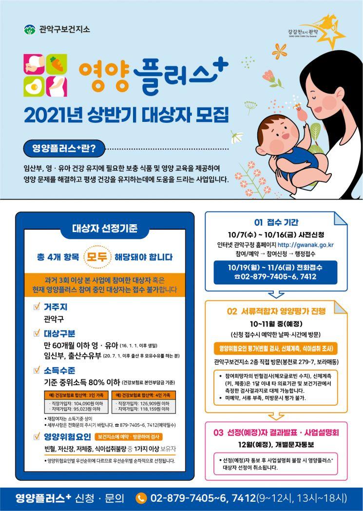 관악구, 2021년 상반기 영양플러스 신규 참여자 모집