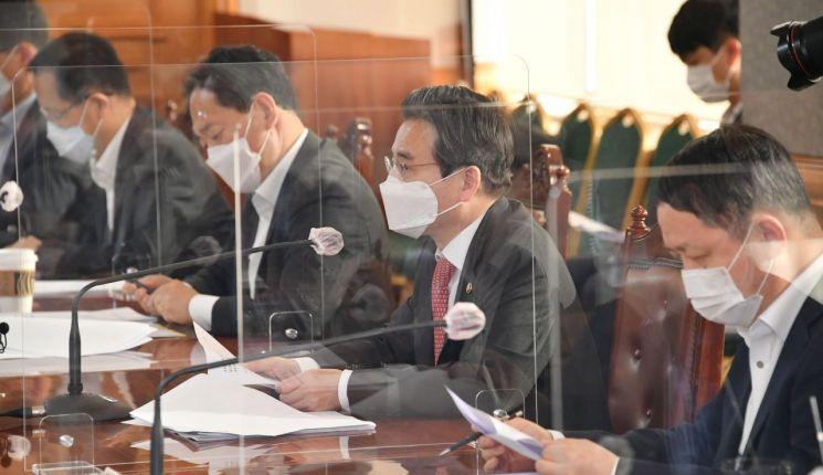 김용범 기획재정부 제1차관이 24일 서울 명동 은행회관에서 열린 '거시경제금융회의'를 주재, 모두발언을 하고 있다.