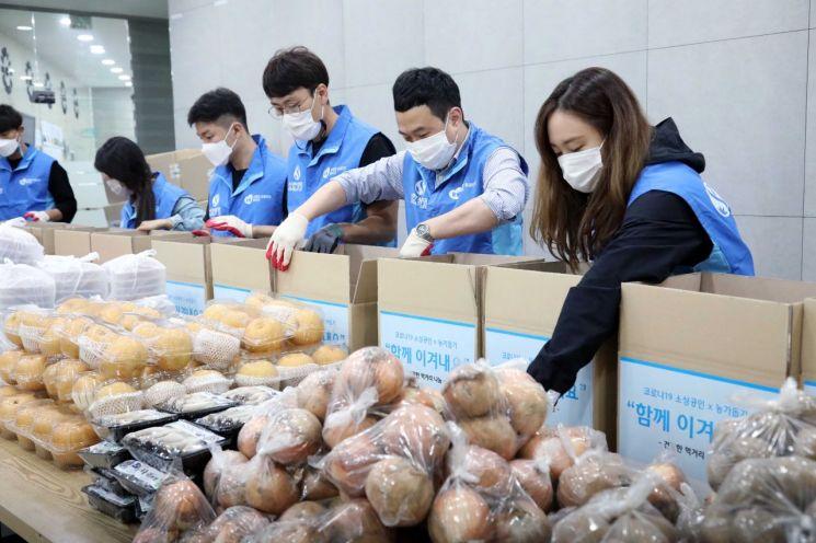 신한생명 직원들이 23일 서울시 구로구에 비영리 NGO 함께하는 사랑밭 사무소에서 농산품 키트를 제작하고 있다.