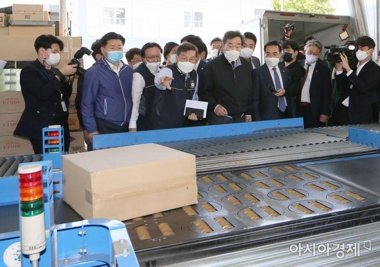 [포토] 택배종사자 보호조치 현장 점검 나선 이낙연