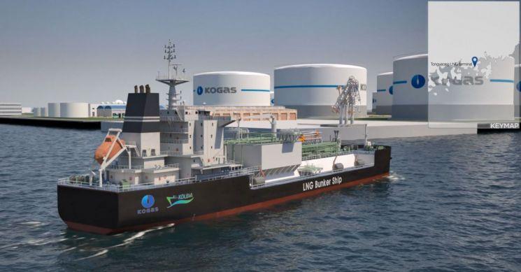 한국가스공사는 산업통상자원부가 주관하는 '액화천연가스(LNG) 벙커링(연료공급) 선박 건조 지원 사업' 수행기관으로 선정됐다고 24일 밝혔다. 가스공사가 건조할 LNG 벙커링 선박의 조감도.(사진제공=한국가스공사)