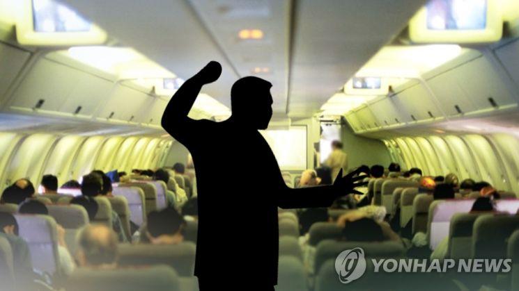 기내 난동 사진. [이미지출처=연합뉴스]