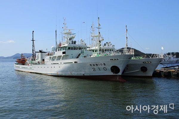 무궁화10호가 목포 서해어업관리단 전용 부두에 복귀했다. (사진=박기동 기자)