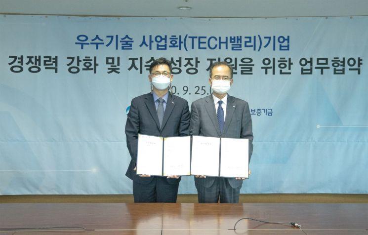 김영춘 기술보증기금 이사(왼쪽)와 서동립 우리은행 중소기업그룹장이 기념촬영을 하고 있다.
