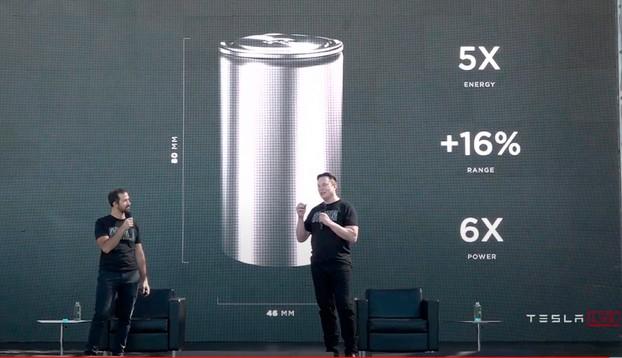 일론 머스크 테슬라 CEO(오른쪽)가 지난 22일(현지시간) 테슬라 배터리데이 행사에서 자체 개발한 배터리에 대해 설명하고있다. <테슬라 공식 유트브 캡처>