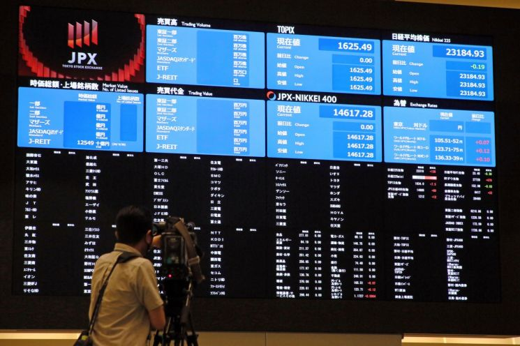 일본 도쿄증권거래소에서 1일 시스템 장애가 발생해 모든 주식 종목의 거래가 중단되자 한 카메라맨이 시세 정보가 공백 상태로 변한 장내 전광판을 촬영하고 있다. [이미지출처=연합뉴스]