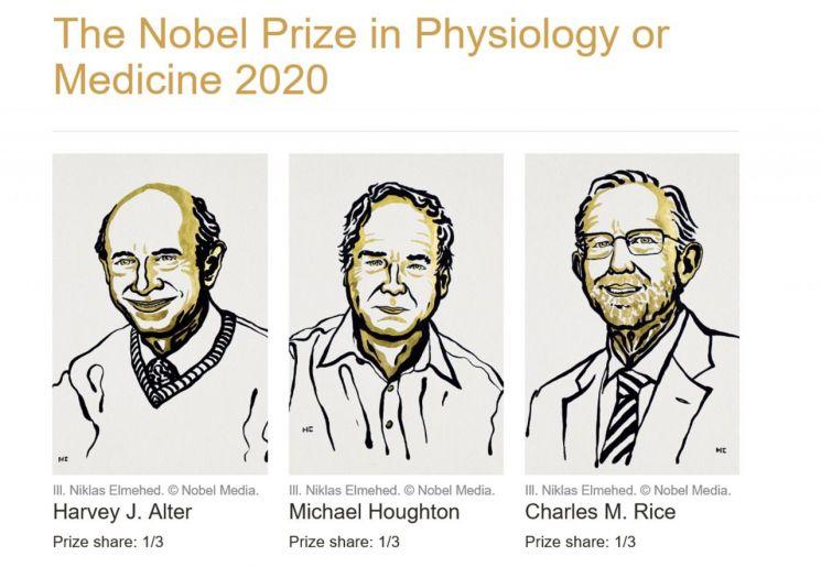 2020년 노벨생리의학상으로 선정된 하비 올터(Harvey Alter) 미국국립보건원(NIH) 박사, 마이클 호턴(Michael Houghton) 앨버타대 교수, 찰스 라이스(Charles Rice) 록펠러대 교수. <사진=노벨상 홈페이지>