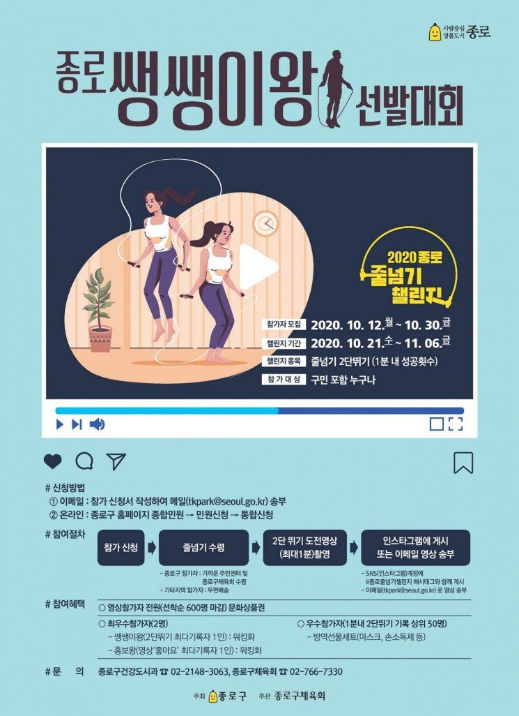 온라인 줄넘기 챌린지 '종로 쌩쌩이왕 선발대회' 개최