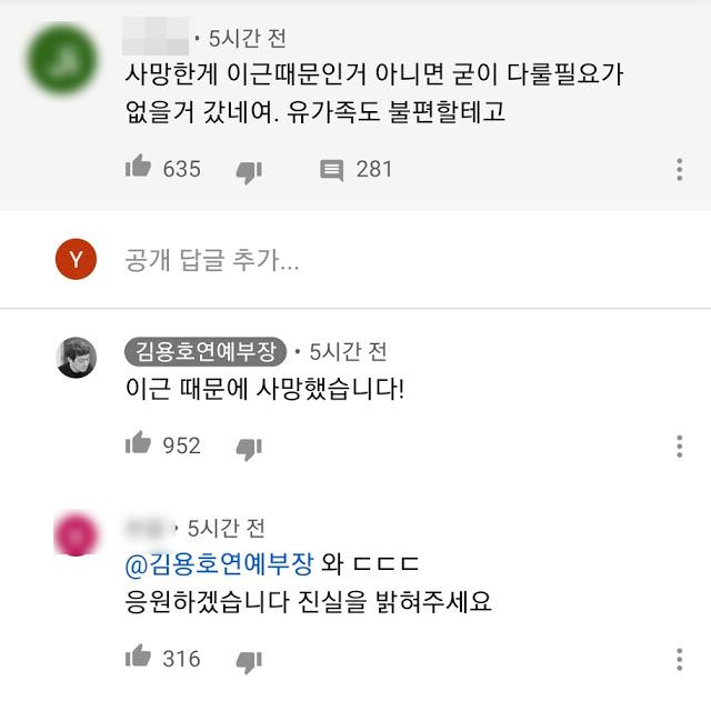전직 연예부 기자 출신 김용호 씨가 이근 전 대위가 전 여자친구의 사망에 책임이 있다는 취지의 발언을 했다. 사진은 김 씨가 댓글을 통해 이 전 대위 전 여차친구가 이 씨 때문에 사망했다고 남긴 댓글./사진=이근 유튜브