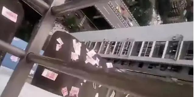 """""""하늘에서 돈이 내려…"""" 中 마약흡입 남성, 아파트서 3천여만원 현금 뿌려"""