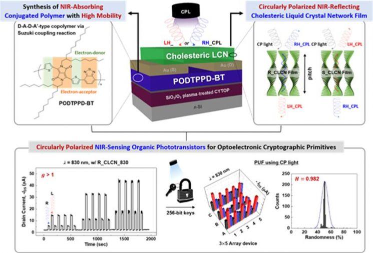 근적외선 원편광 감응 광트랜지스터 개발의 주요 전략에 관한 모식도