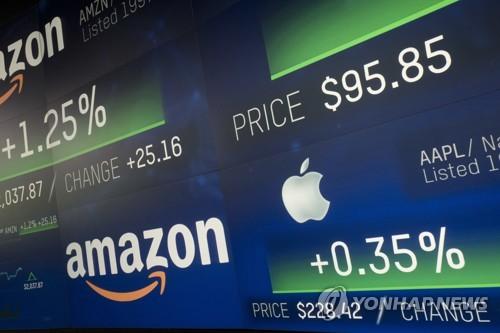 지난 2018년 미국 뉴욕 나스닥 시장 전광판에 미국 대표적 IT 기업들 정보가 떠있다. / 사진=연합뉴스