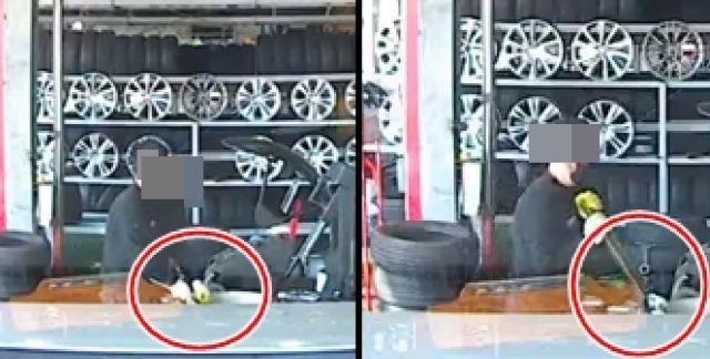 """21일 한 자동차 관련 인터넷 커뮤니티에는 """"XXXXX 고발합니다""""라는 제목으로 타이어뱅크 가맹점에서 피해를 입었다는 글이 블랙박스 영상과 함께 올라왔다.사진=보배드림 캡처."""