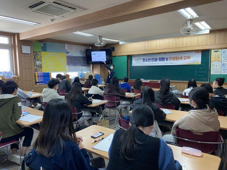 신용보증기금 직원이 지난 20일 대구 동구 소재 불로중학교를 방문해 학생들을 대상으로 진로특강을 진행하고 있다.