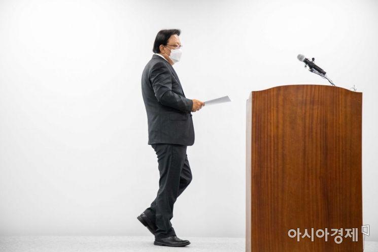 [포토]기자회견장 들어서는 박근희 CJ대한통운 대표이사