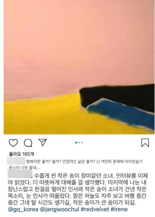 A씨가 과거 레드벨벳 아이린을 칭찬했던 것으로 보이는 인스타그램 게시글. 해당 글은 폭로글이 공개된 이후 삭제됐다. 사진=스타일리스트 A씨 인스타그램 캡처.