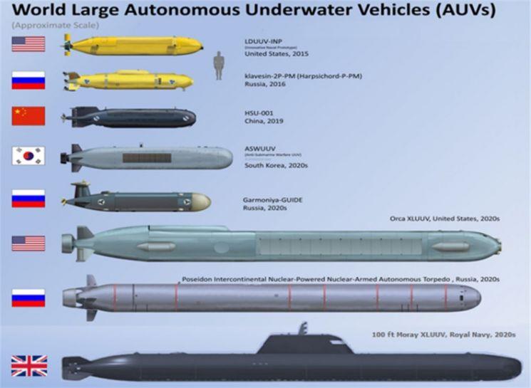 세계 대형급 무인잠수정 <출처: H I Sutton, Covert Shores (www.hsutton.com)>