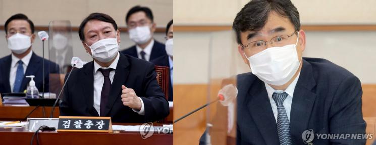 윤석열 검찰총장(왼쪽)과 22일 사의를 표명한 박순철 서울남부지검장.