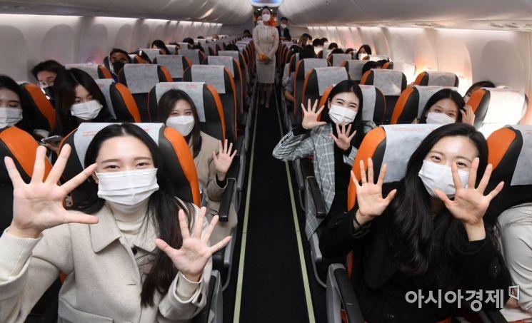 [포토]제주항공 '인천 to 인천' 관광비행 떠나는 승객들