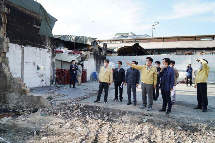 유덕열 동대문구청장이 불탄 현장을 방문했다.