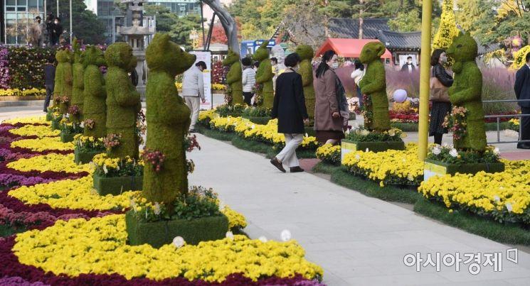 선선한 가을 날씨를 보인 26일 서울 종로구 조계사를 찾은 시민들이 국화로 꾸며진 '제10회 조계사 국화향기 나눔전'을 관람하고 있다.
