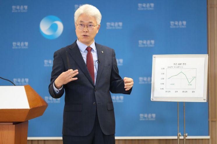박양수 한국은행 경제통계국장이 27일 오전 서울 중구 한은에서 열린 2020년 3/4분기 실질 국내총생산(속보) 설명회에서 그래프를 이용해 기자들의 질문에 답변하고 있다.