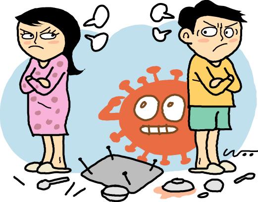 코로나 이혼은 코로나19(Covid)와 이혼(divorce)의 합성어로 코로나19로 인한 사회적 거리두기와 재택근무 확대로 집에서 보내는 시간이 많아지면서 이혼이 증가한 세태를 담은 말이다. 일러스트 = 이영우 기자
