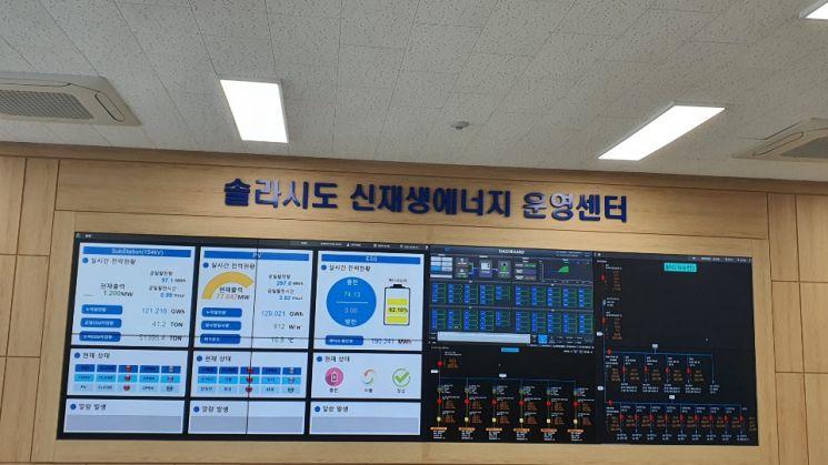 솔라시도 신·재생에너지 운영센터. 좌측에 있는  태양광 발전(Photovoltaics·PV)과 ESS, 154Kv 변전소 세 개로 나눠진 전광판이 눈에 띈다.(사진=문채석 기자)