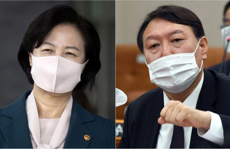 추미애 법무부 장관(좌), 윤석열 검찰총장(우)./사진=연합뉴스