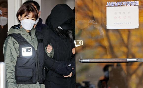 생후 16개월 입양아 학대 치사 혐의를 받는 엄마 A 씨가 11일 오전 서울 양천구 남부지법에서 구속 전 피의자 심문(영장실질심사)을 받은 뒤 청사를 나서고 있다. 연합뉴스