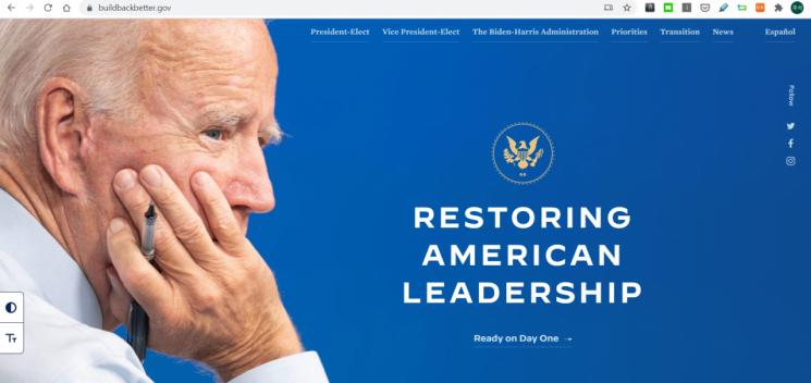 정권 인계 승인에…'.gov' 붙인 바이든 인수위 홈페이지